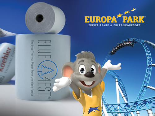 Abbildung: Europa‐Park setzt blauen Blue4est® Ökobon von Koehler ein