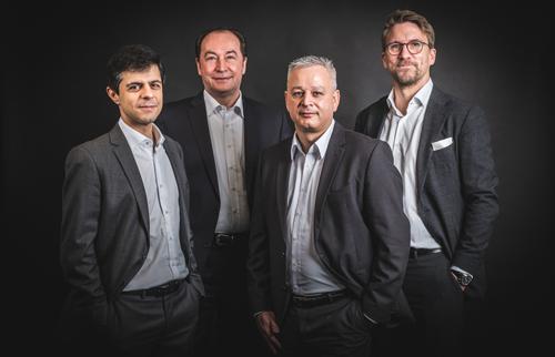 Die Geschäftsführung der neuen Inapa Deutschland GmbH (von links nach rechts): Hugo Rua (CFO), Thomas Schimanowski (CEO), Frank Weithase (COO), Martin Tewes (CCO)